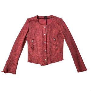 Stile Benetton Red Tweed Bell Sleeve Jacket